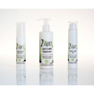 Offre spéciale 3 cosmétiques bio au lait d'ânesse